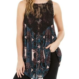 Free People Count Me In Trapeze Black Combo XS Top
